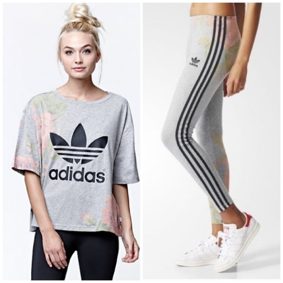 30022b4cfc adidas Pants - 2PC💟 Adidas Pastel Rose Floral Top Leggings Set S
